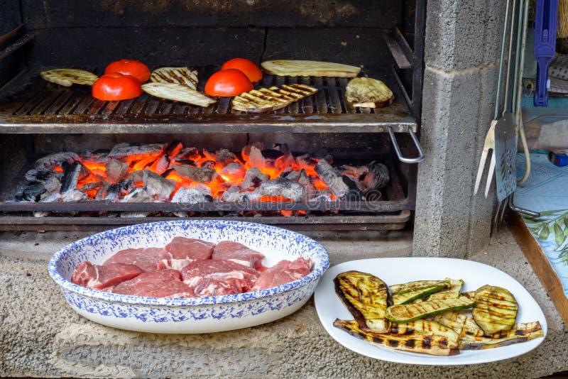 Grilling-groenten in barbecue royalty-vrije stock fotografie