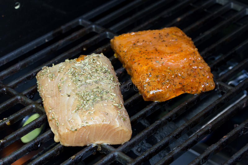 Grilling Omega3 rich fish. Grilling Omega3 rich salman and mahi on an outdoor gas grill for a healthy protien meal stock photo
