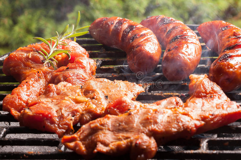 Download Grilling sausages. stock image. Image of pork, fast, cooking - 51062987