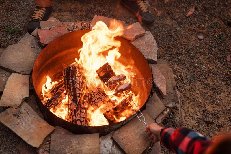 Grilling sausages over a campfire, campers roasting sausages on toasting forks. Fire place, friends, tourists are royalty free stock images