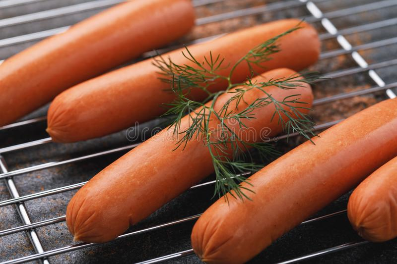 Grilling sausages from veal stock images