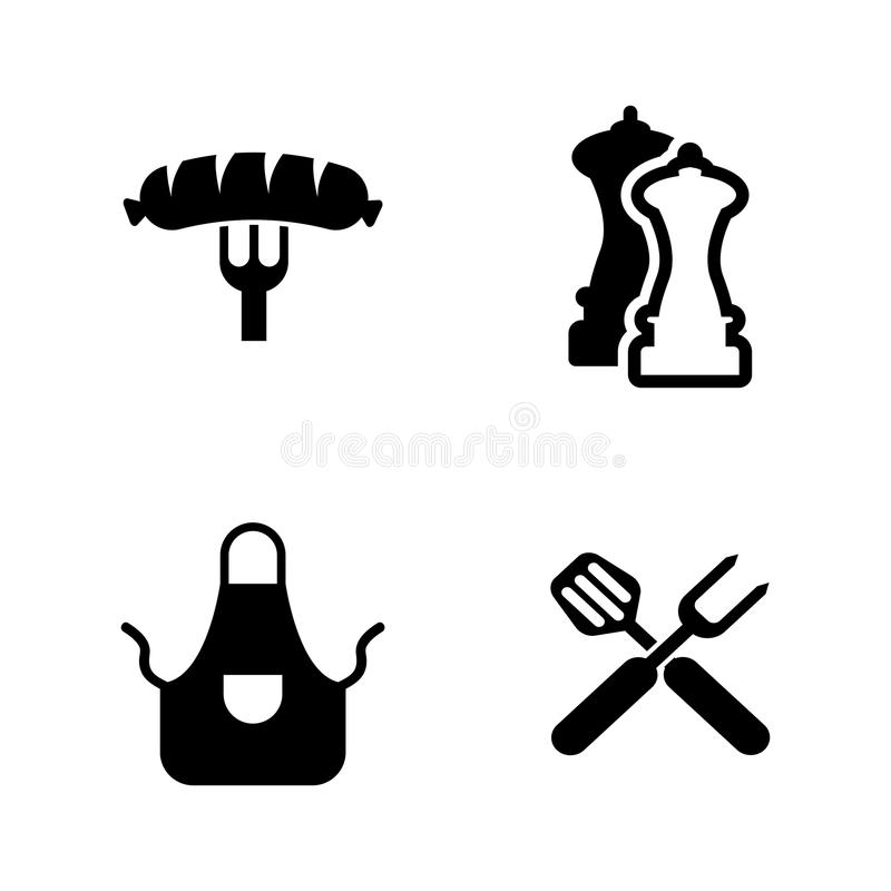 Grilling. Simple Related Vector Icons royalty free illustration