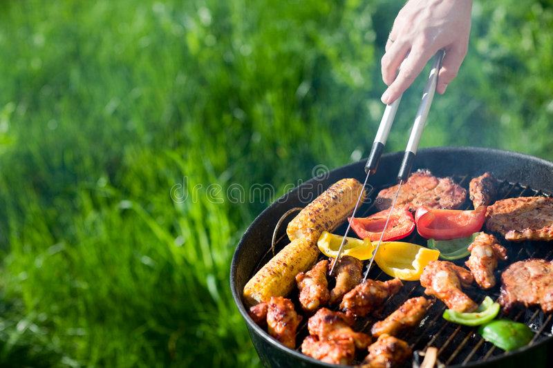 Grilling at summer weekend stock image