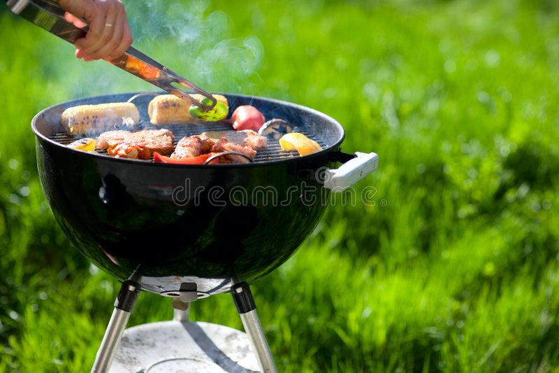 Grilling at summer weekend royalty free stock photos
