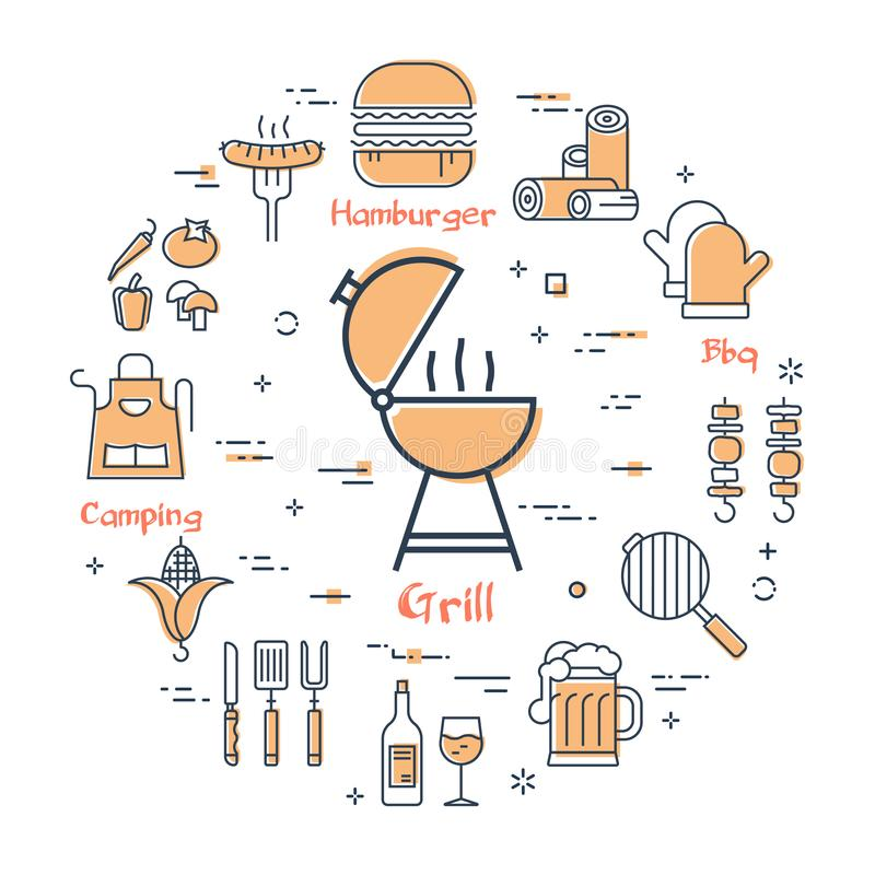 Grillkonzept - GRILL lizenzfreie abbildung