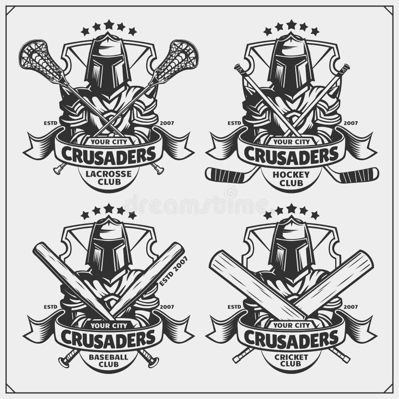 Grillo, béisbol, lacrosse y logotipos y etiquetas del hockey Emblemas del club de deporte con el cruzado libre illustration