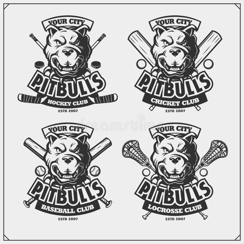 Grillo, béisbol, lacrosse y logotipos y etiquetas del hockey Emblemas del club de deporte con el pitbull ilustración del vector