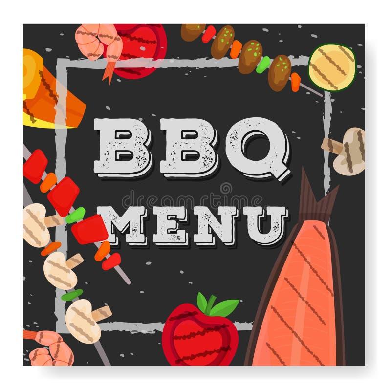 Grillpartei, Men?, Einladungsentwurf BBQ stock abbildung
