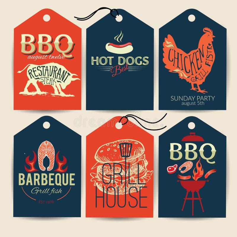 Grillparteiaufkleber BBQ-Schablonenmenü-Designsatz Lebensmittelflieger Typograohic-Aufkleber mit Hand gezeichneter Illustration vektor abbildung