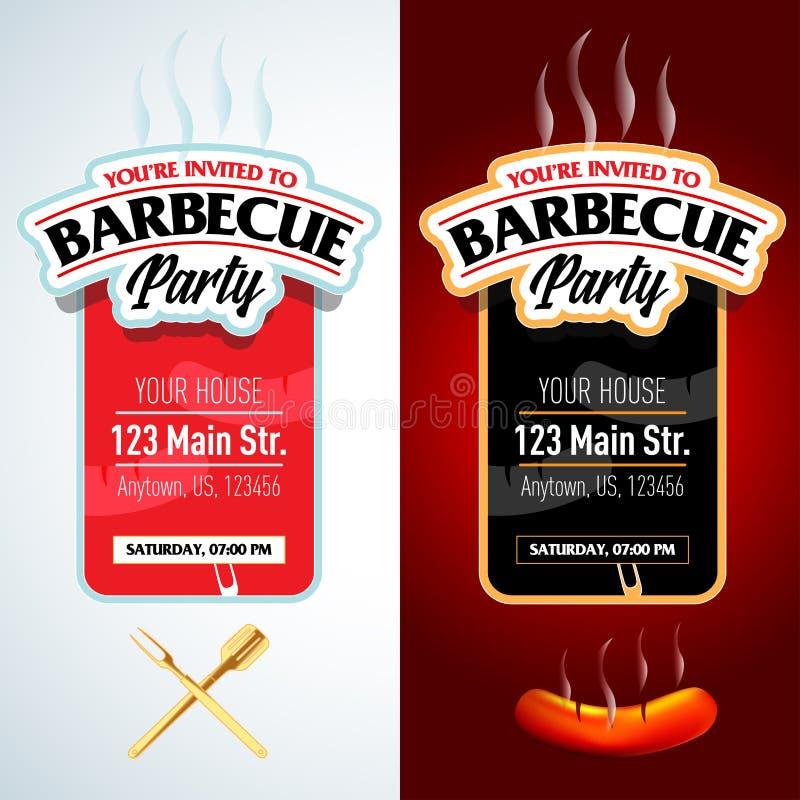 Grillparteidesign, Grilleinladung Grilllogo Bbq-Schablonenmenüdesign Grill-Lebensmittelflieger Grillanzeige stock abbildung