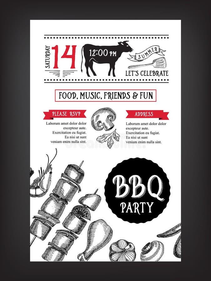Grillparteieinladung Bbq-Schablonenmenüdesign Lebensmittelflieger lizenzfreie abbildung