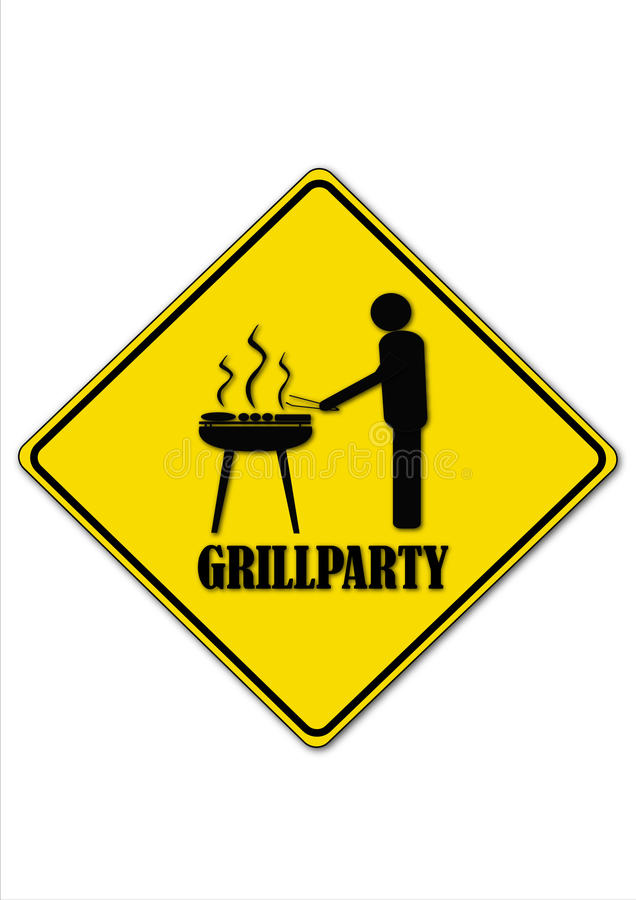 Grillparty. Road sign shows the grilling man royalty free illustration