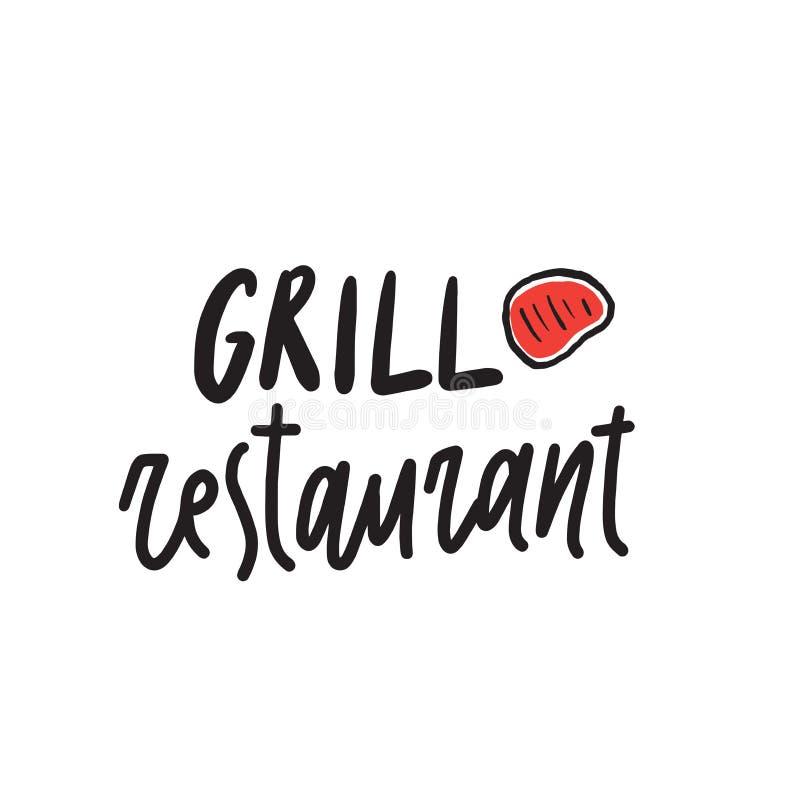 Grillrestaurant Grappig hand getrokken embleemconcept Illustratie van lapje vlees lettering Vector ontwerp royalty-vrije illustratie