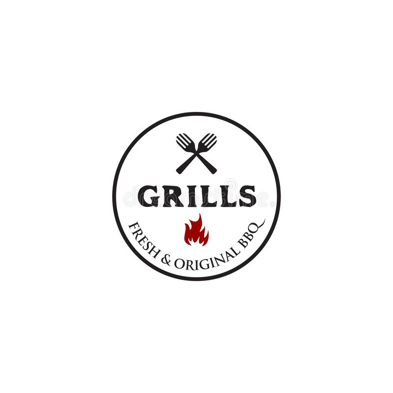 Grills barbeque restaurant logo design template vector illustration