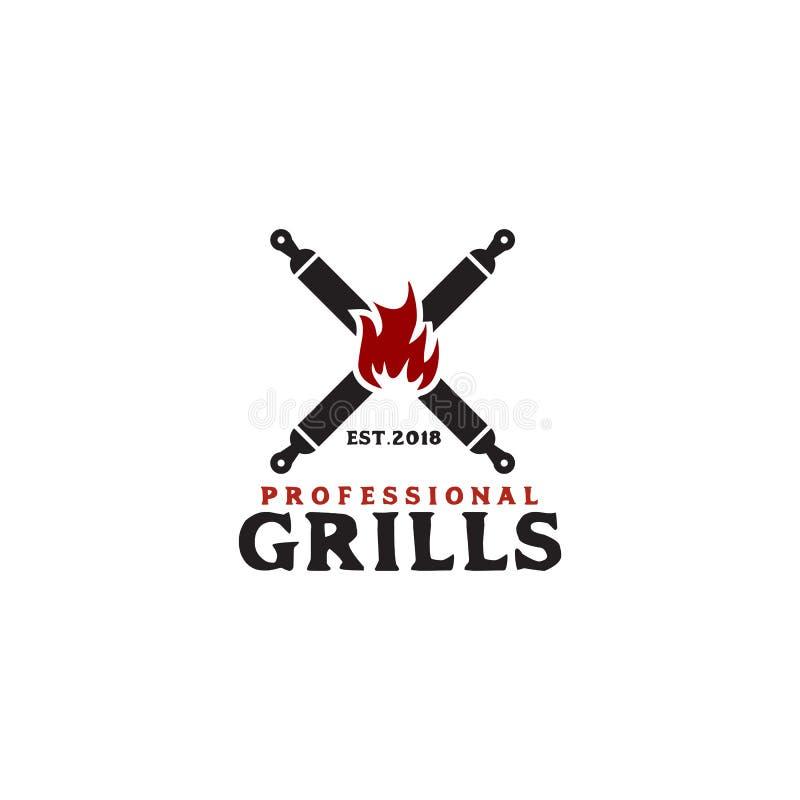 Grills barbeque restaurant logo design template royalty free illustration