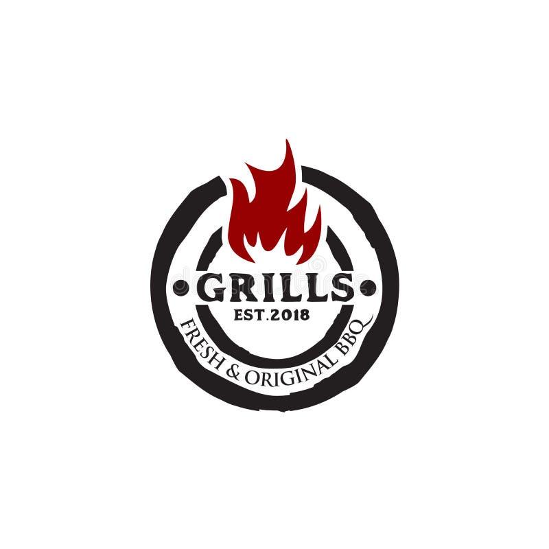 Grills barbeque restaurant logo design template stock illustration