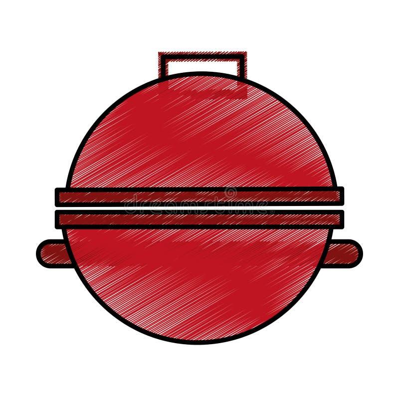 Grillsilhouet geïsoleerd pictogram stock illustratie
