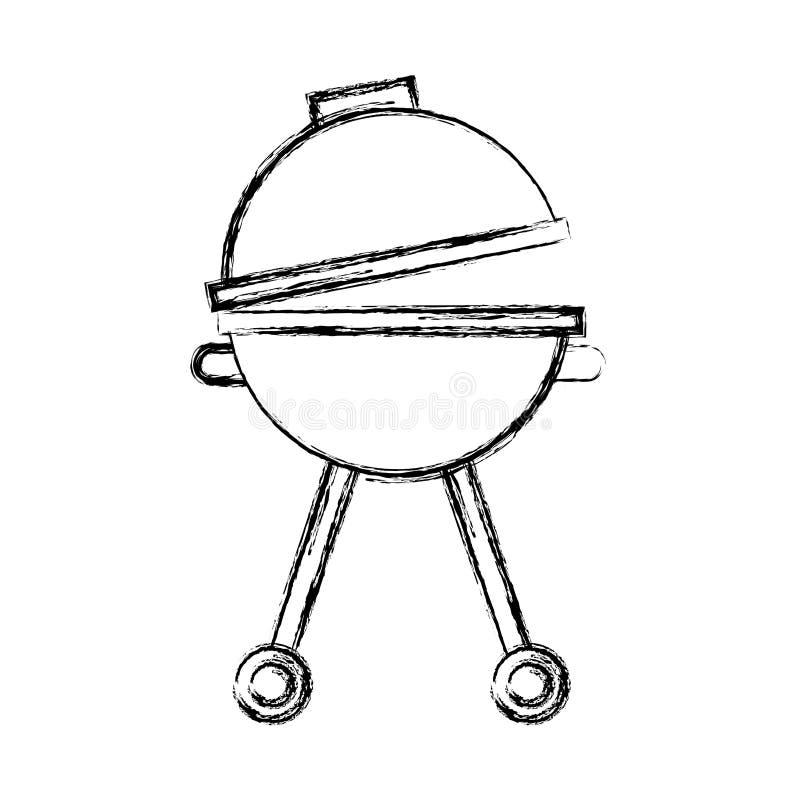 Grillsilhouet geïsoleerd pictogram vector illustratie