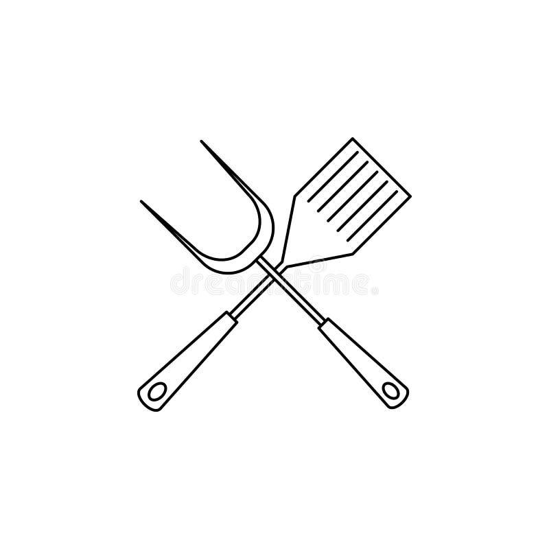 Grillzubehörikone Element des Kampierens und Erholung der im Freien für bewegliche Konzept und Netz apps Dünne Linie Ikone für We stock abbildung