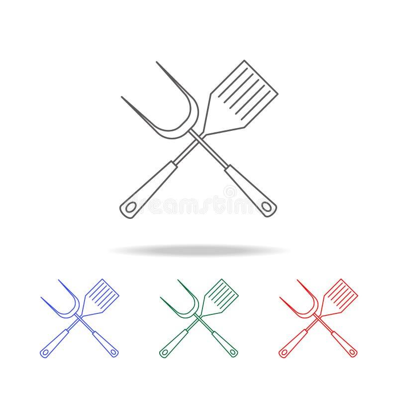 Grillzubehörikone Elemente von kampierenden multi farbigen Ikonen Erstklassige Qualitätsgrafikdesignikone Einfache Ikone für Webs lizenzfreie abbildung
