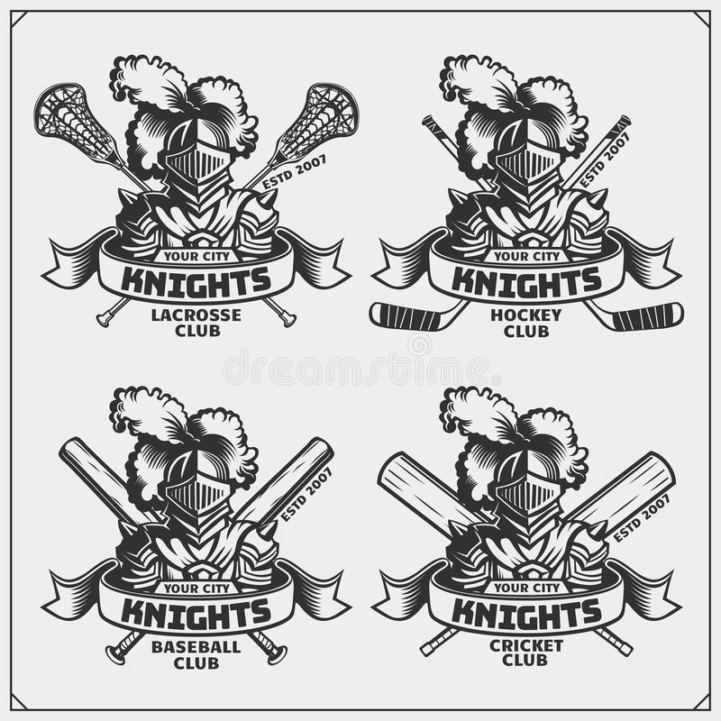 Grilo, basebol, lacrosse e logotipos e etiquetas do hóquei Emblemas do clube de esporte com cavaleiro ilustração do vetor