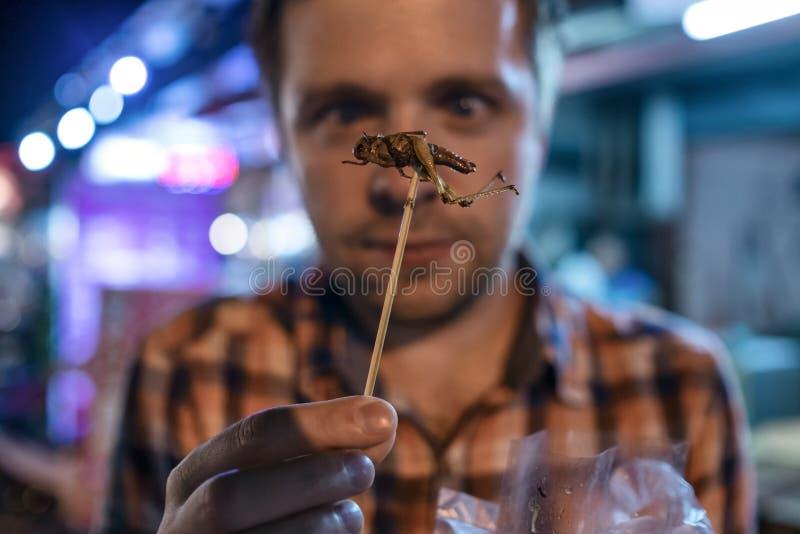 Grilo masculino novo caucasiano comer no mercado da noite em Tailândia imagem de stock