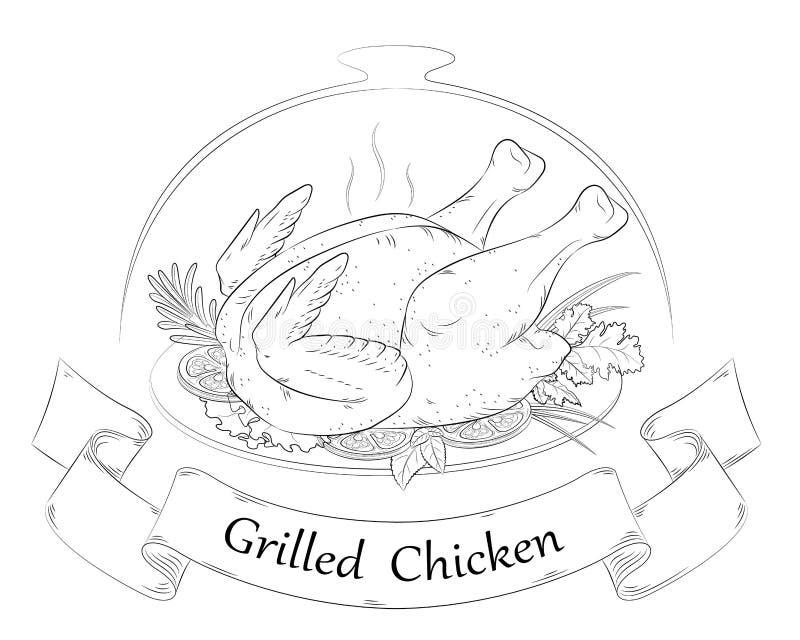 grilowany kurczak Gorący kurczak royalty ilustracja