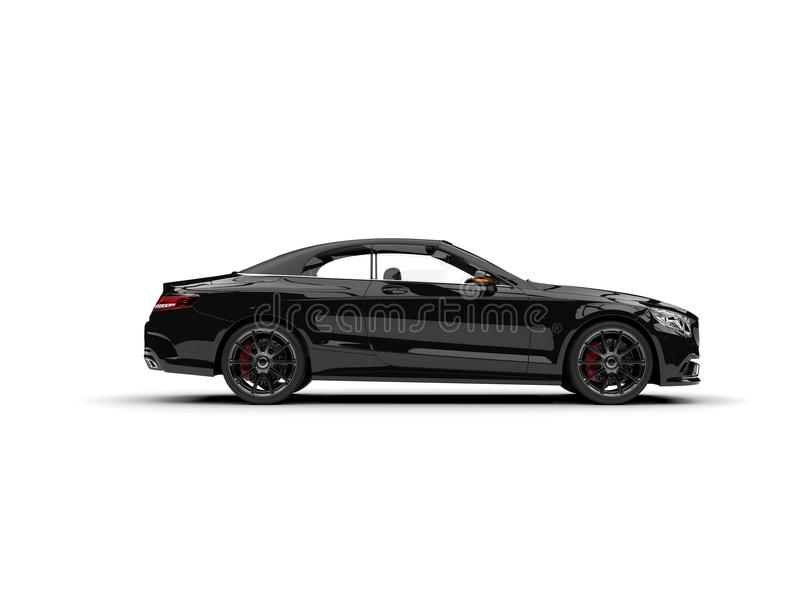 Grim black modern luxury convertible car - side view. Isolated on white background stock illustration