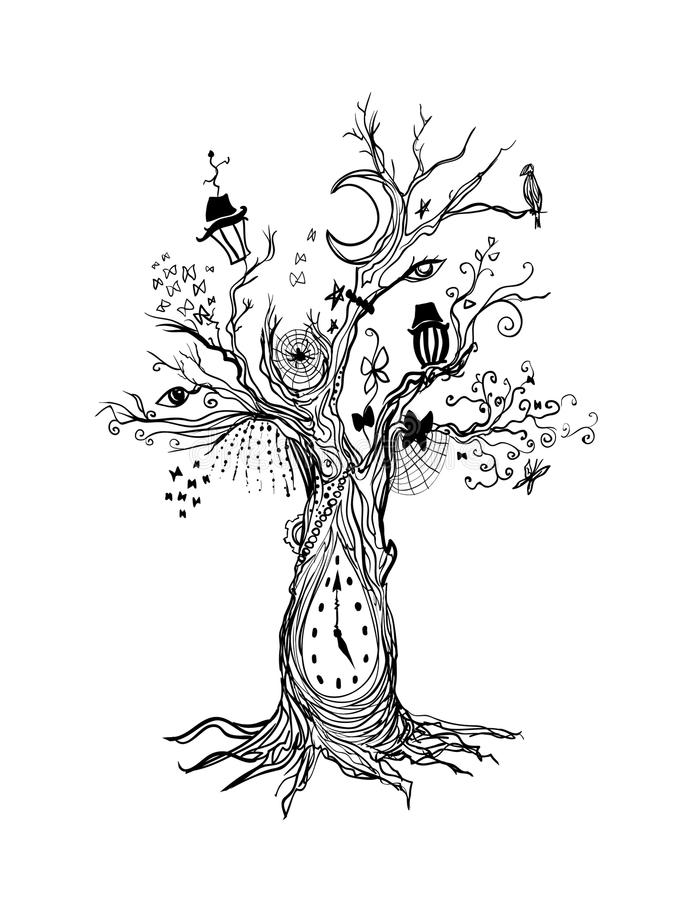 Grim gloomy ink tree - dark abstract vector linear contour drawing. Gothic creepy Sketch. Crow, lantern, butterfly. Tree, oak, clock, roots, death, eyes stock illustration