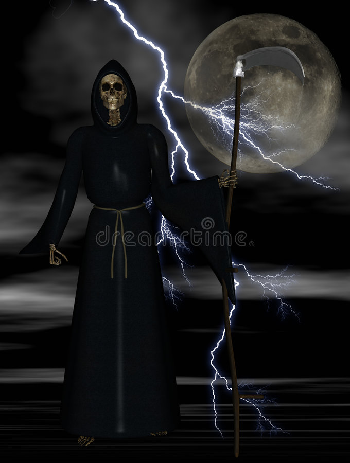 Grim Reaper. Against a stormy night sky background- clipping path around reaper and scythe vector illustration