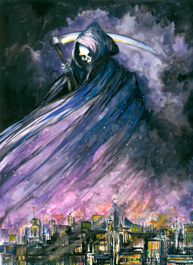 Grim Reaper. In town watercolor painted. Picture I have created myself