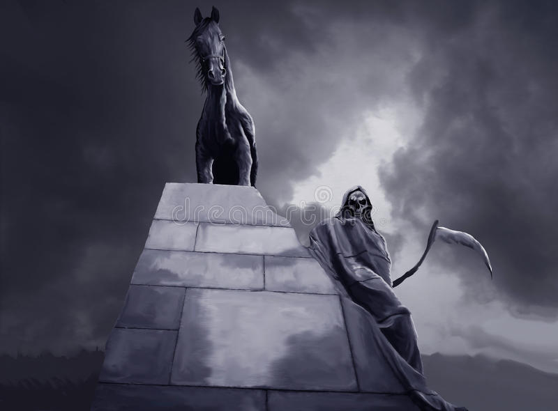 Grim reaper and black horse. Grim reaper and black stallion graphic royalty free stock images