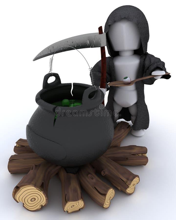 Download Grim Reaper With Cauldron Of Eyeballs Stock Illustration - Image: 27097042