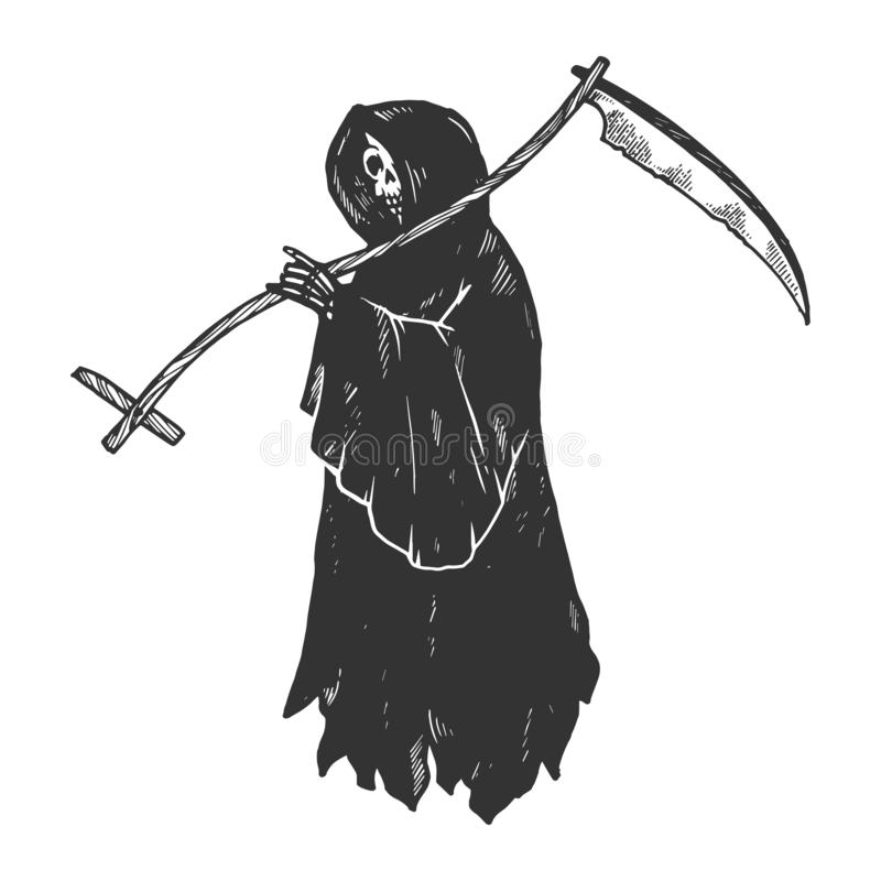 Grim reaper engraving vector illustration. Grim reaper Death metaphor engraving vector illustration. Scratch board style imitation. Black and white hand drawn vector illustration