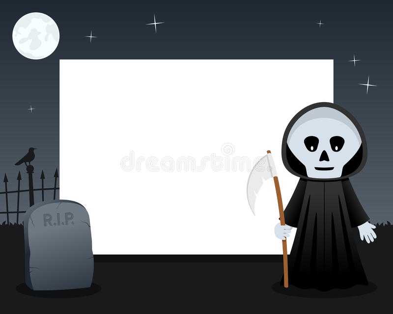 Grim Reaper Halloween Horizontal Frame vector illustration