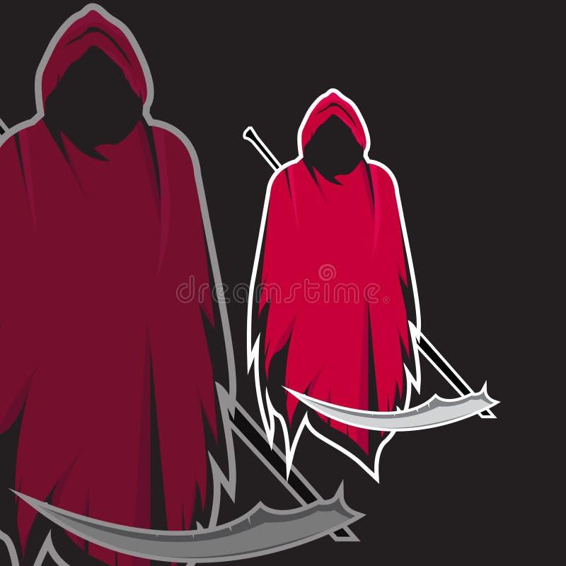 Grim reaper holding scythe e sport gaming mascot logo template vector illustration