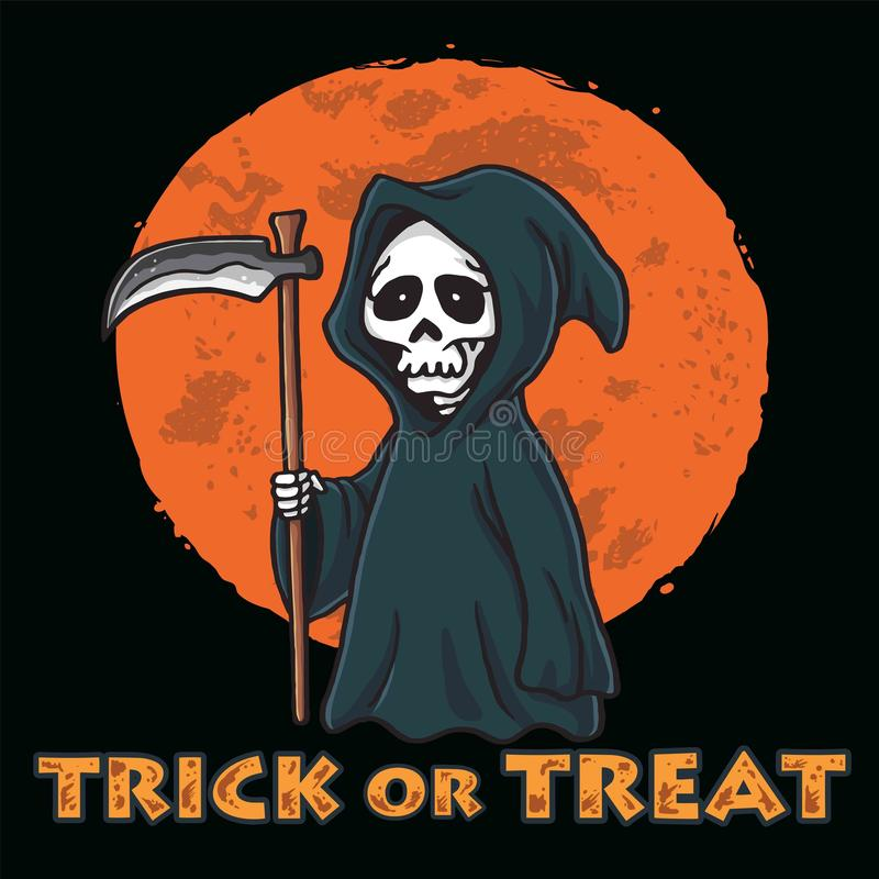 Grim Reaper with Moon Background Halloween Card Invitation Design Template stock photos