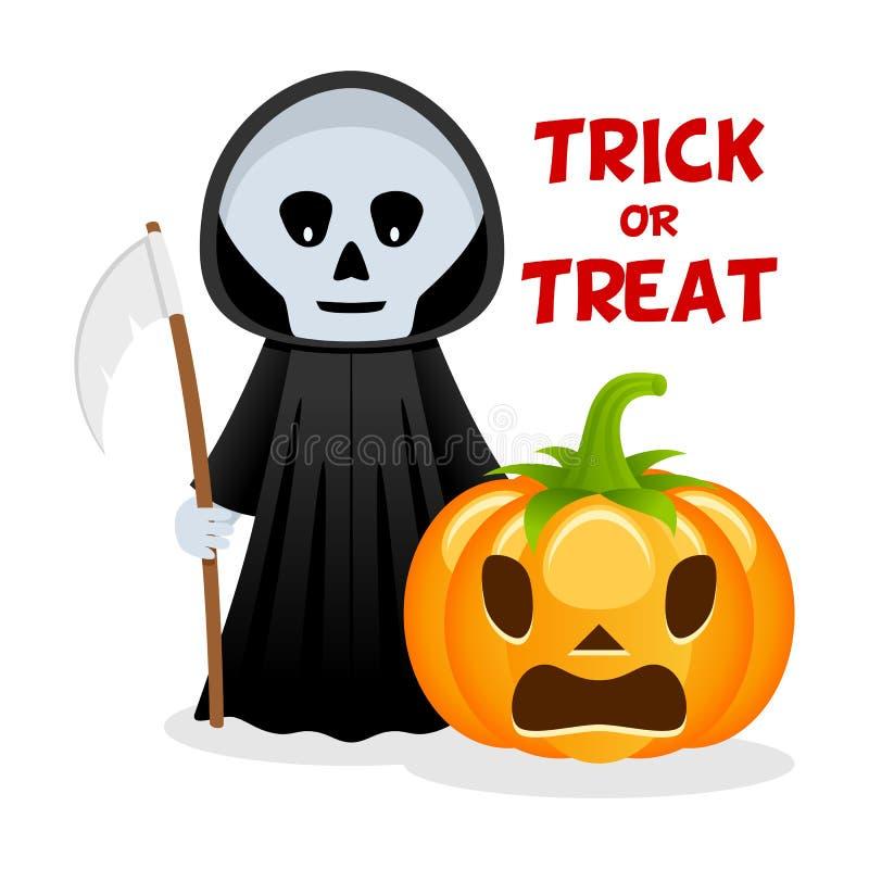 Download Grim Reaper Pumpkin Happy Halloween Stock Vector