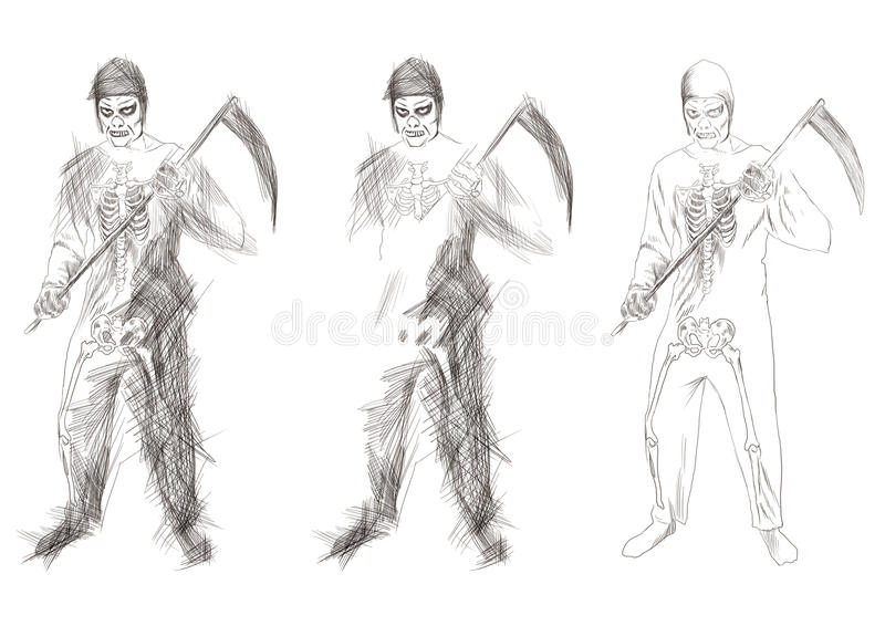 Grim reaper with a scythe. Hand-drawn picture to the Halloween theme: grim reaper with a scythe vector illustration