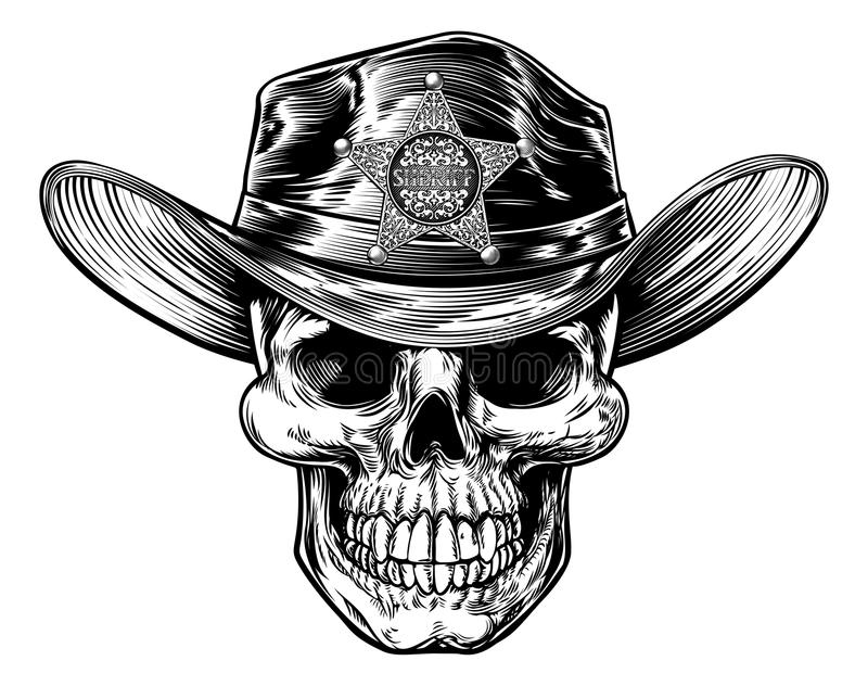Grim Reaper Skull Sheriff. Cowboy skull in western hat with star sheriff bagde drawing in a vintage retro woodcut etched or engraved style stock illustration