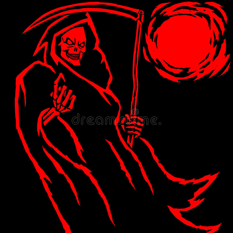 The Grim Reaper. Vector Illustration. The Grim Reaper. Scary Horror Character. Graphic Design. Contour Digital Freehand Outline Drawing. Spirit Rock Skull. Ghost royalty free illustration