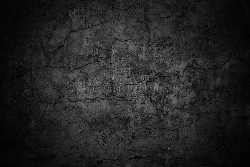 Grim wall texture, dark background black cement royalty free stock images
