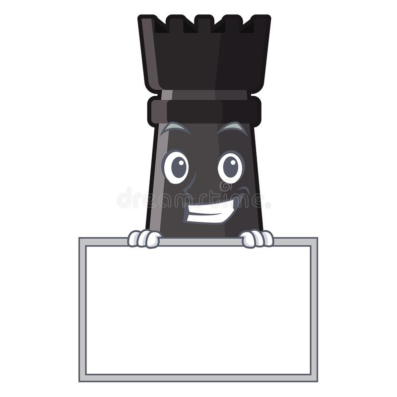 Grimacerie avec des jouets d'échecs de freux de conseil au-dessus de table de bande dessinée illustration libre de droits