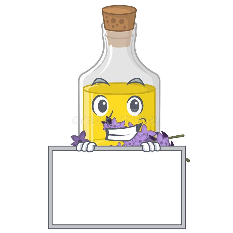 Grimacerie avec l'essence de lavande de conseil dans une bouteille de bande dessinée illustration libre de droits