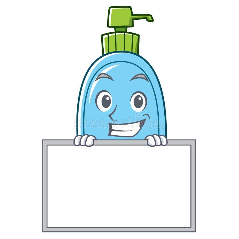 Grimacerie avec la bande dessinée de caractère de savon liquide de conseil illustration libre de droits