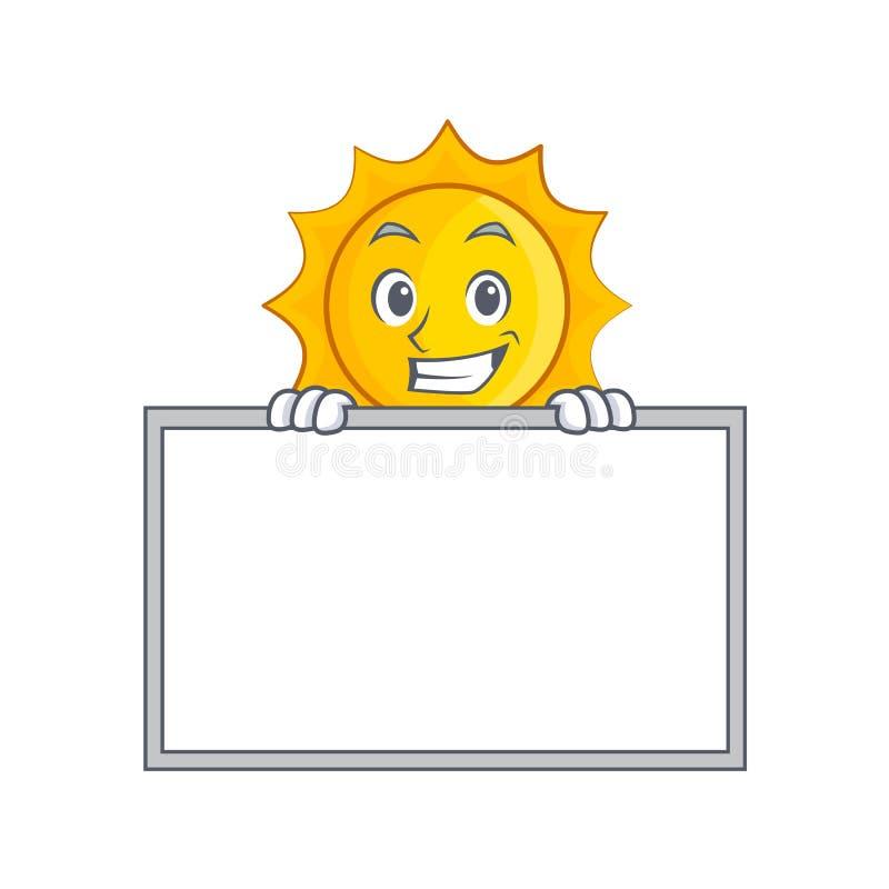 Grimacerie avec la bande dessinée mignonne de caractère du soleil de conseil illustration libre de droits