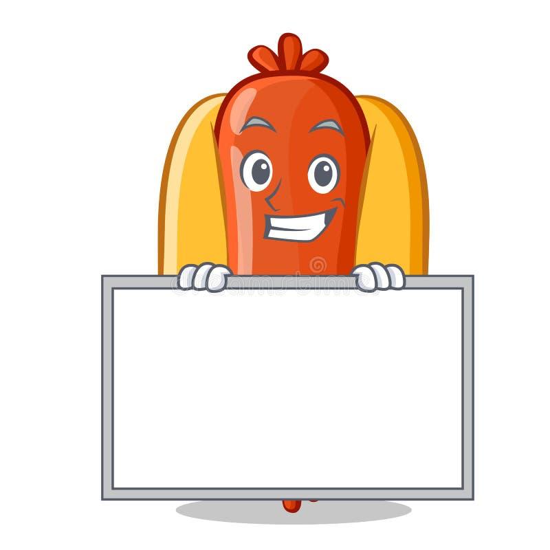 Grimacerie avec le personnage de dessin animé de hot-dog de conseil illustration stock