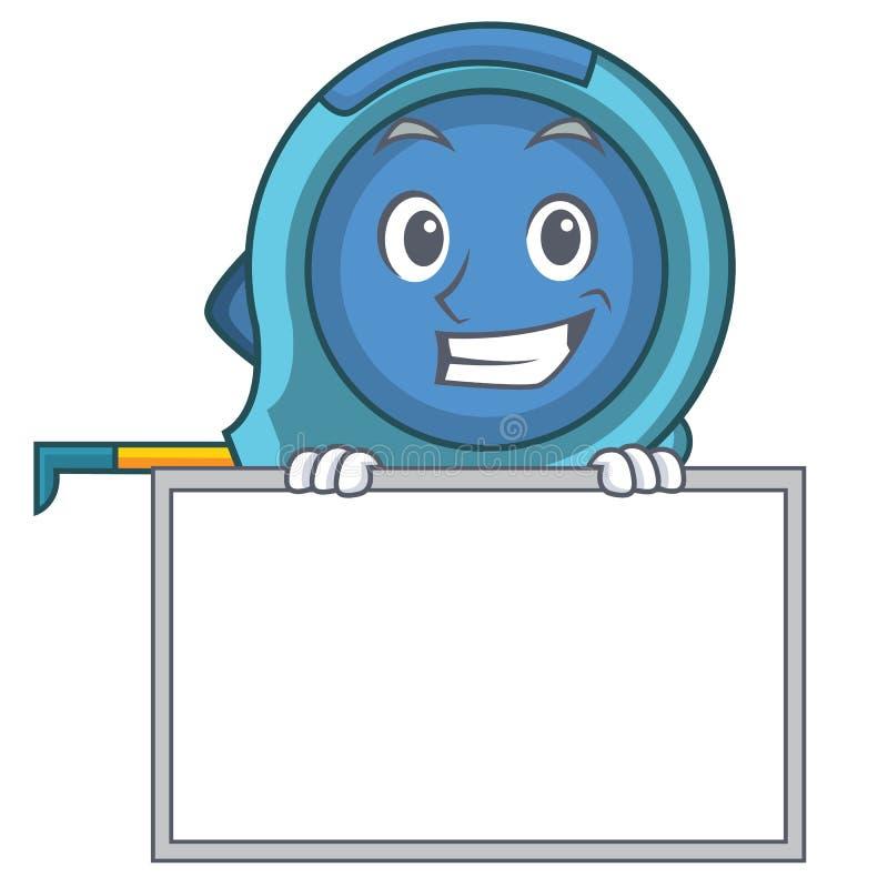 Grimacerie avec le ruban métrique de bande dessinée de caractère de conseil illustration de vecteur