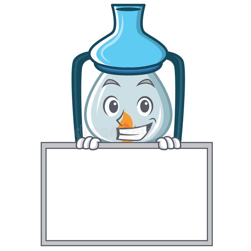 Grimacerie avec le style de bande dessinée de caractère de lanterne de conseil illustration libre de droits
