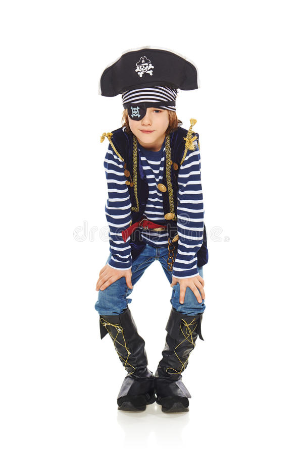 Grimacerie du pirate de petit garçon image libre de droits